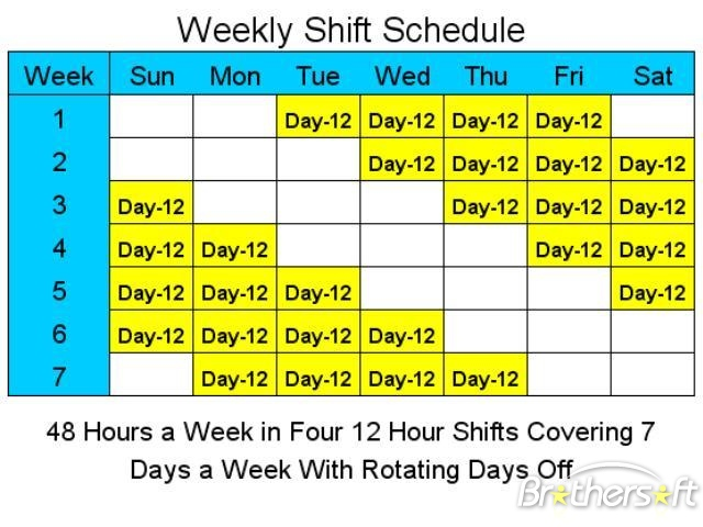 12 hour shift schedule template excel printable schedule template