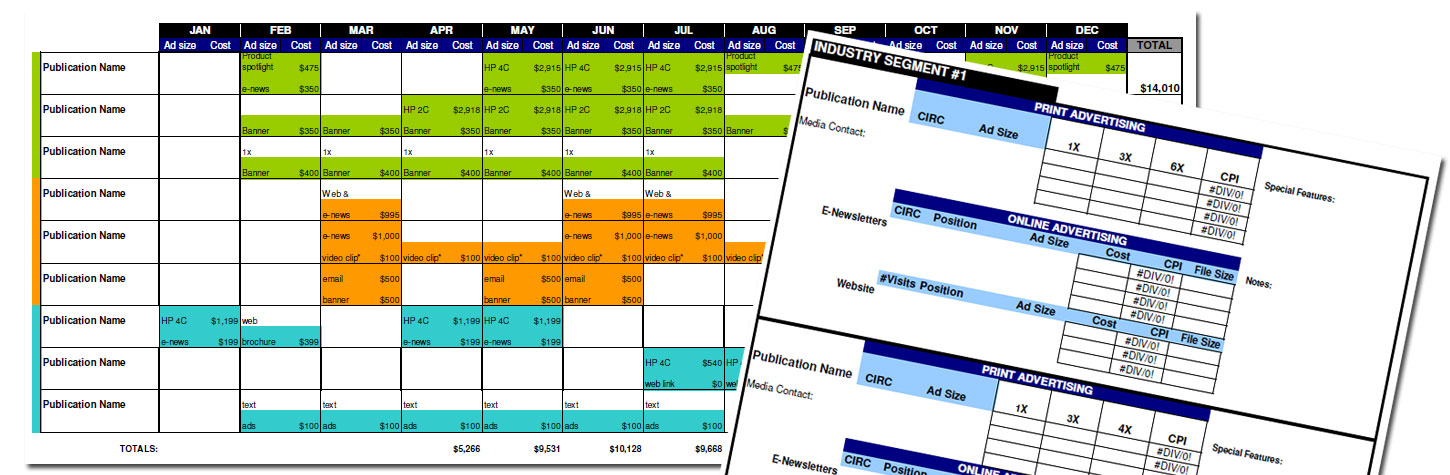 Advertising Media Plan Template for Cost Analysis and Annual