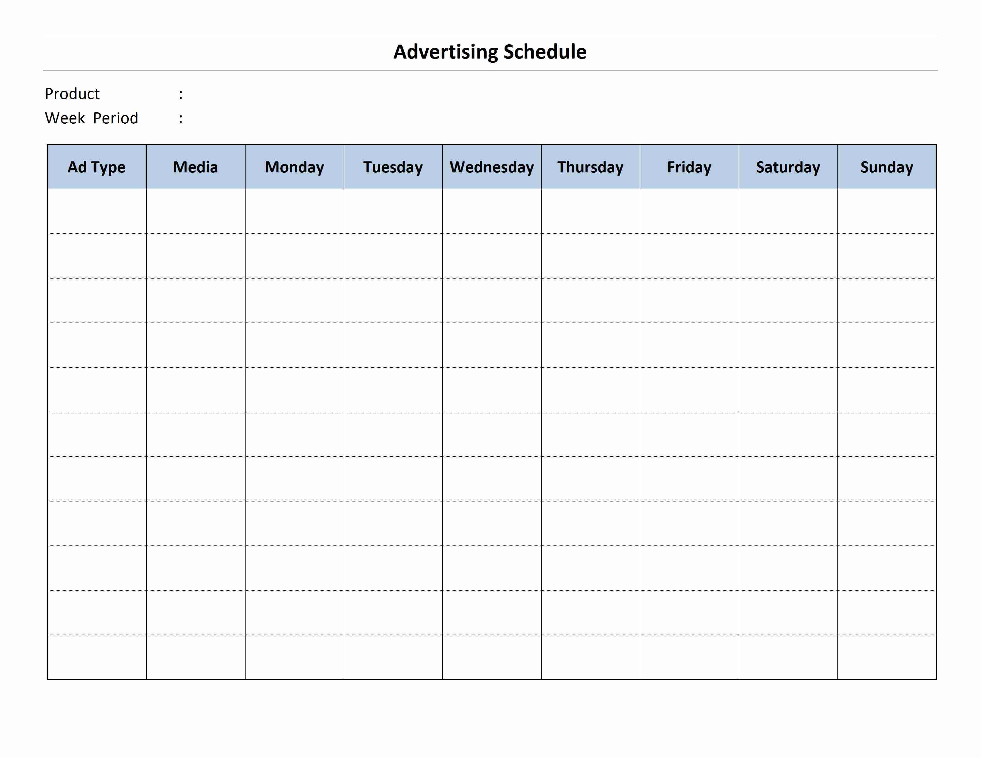 Advertising Schedule Template