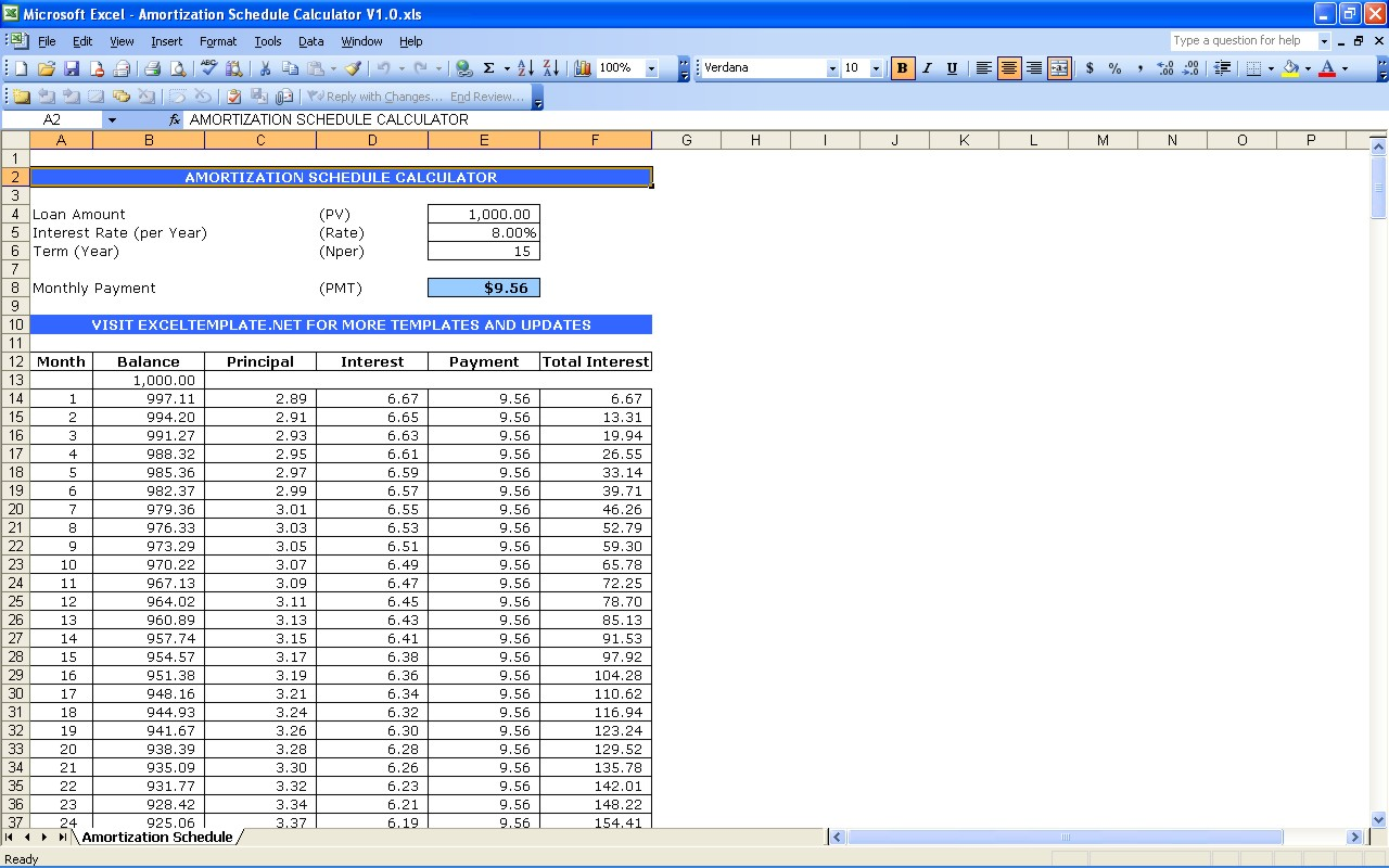 Amortization Schedule Template Excel