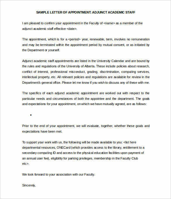 31+ Appointment Letter Templates Free Sample, Example Format