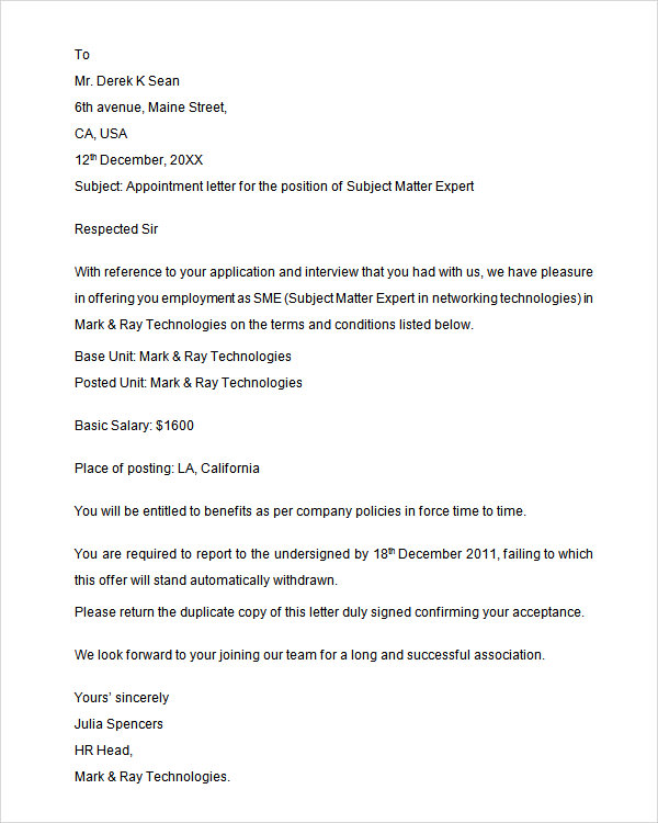 Sample Appointment Letter 28+ Download Free Documents in PDF, Word
