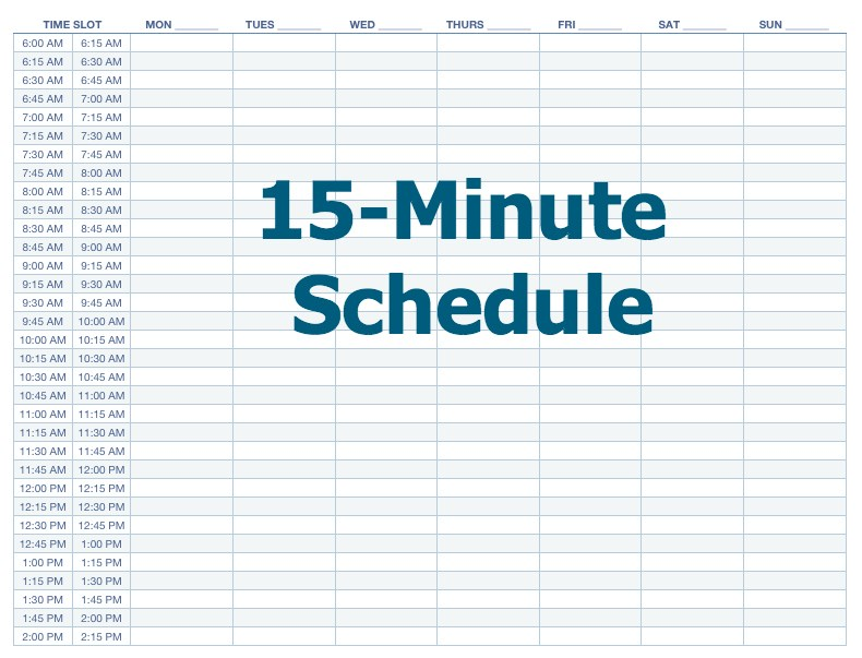 Appointment schedule template 15 minute increments | printable.