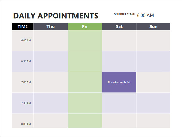 Appt Schedule Template