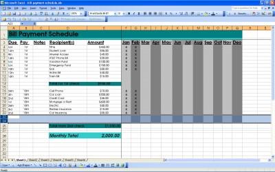 Bill Payment Schedule | Excel Bill Payment Schedule