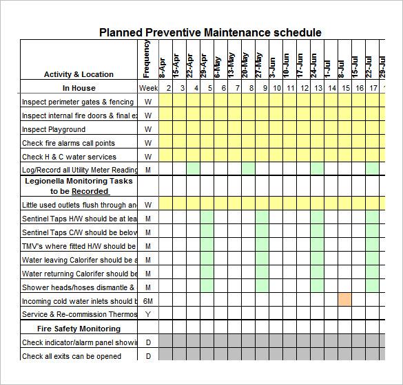 Preventative Maintenance Spreadsheet | onlyagame
