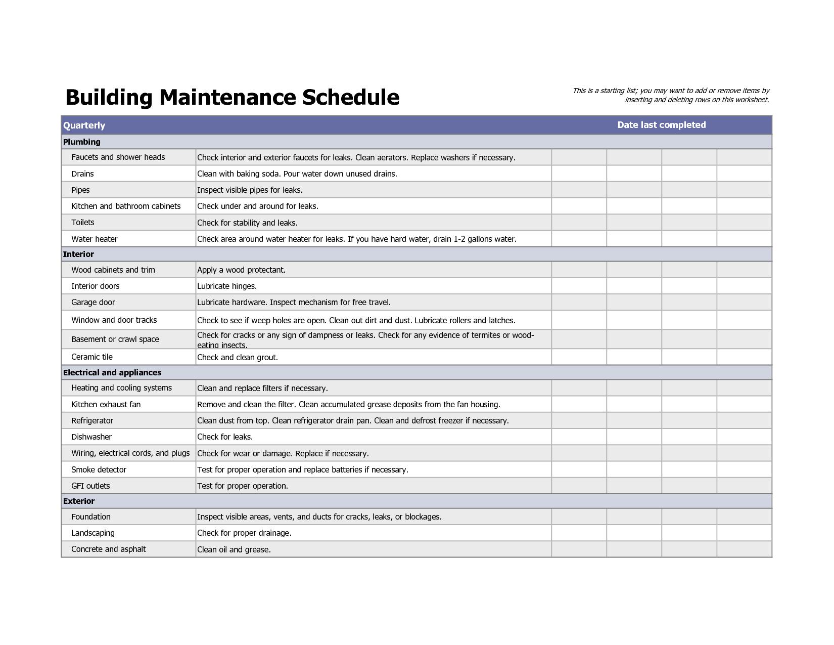 Building Maintenance Schedule Excel Template | maintenence