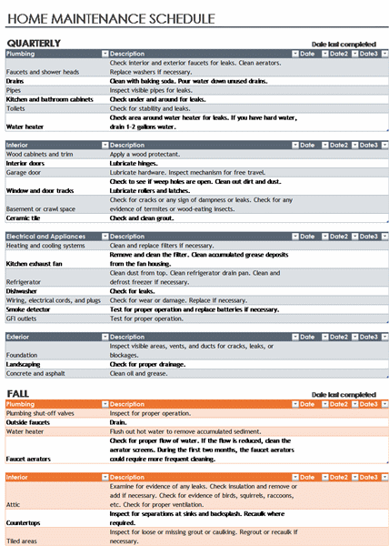 Maintenance Schedule Template | Microsoft Excel Templates