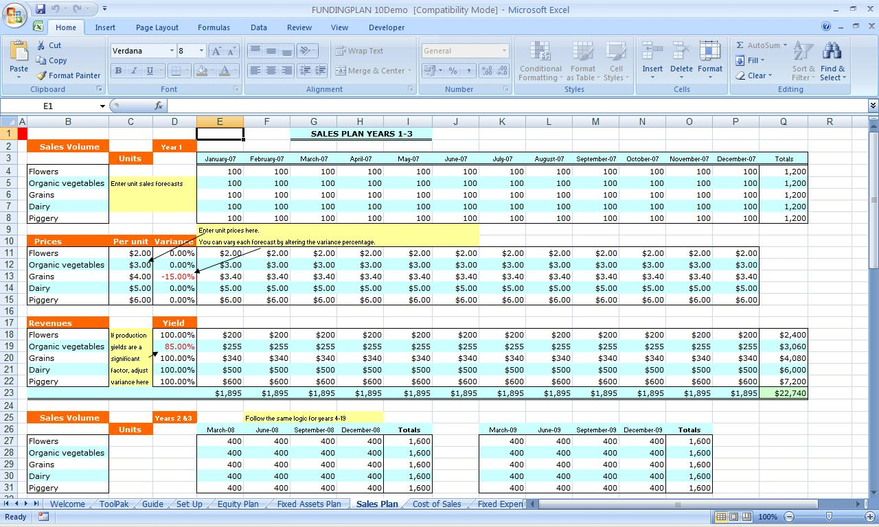 Business Plan Template Free Excel