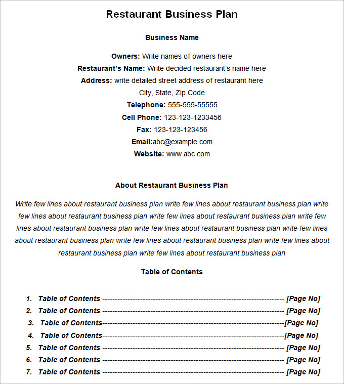 Restaurant Business Plan Template 7+ Free PDF, Word Documents