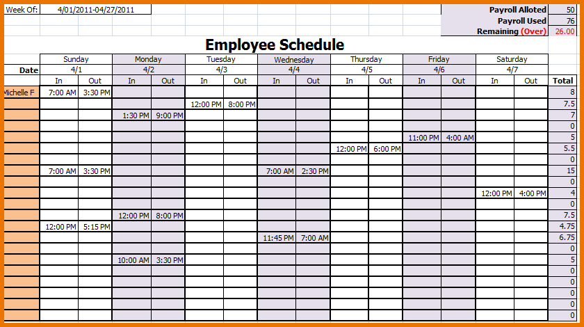 Calendar Employee Schedule Template Printable Schedule Template