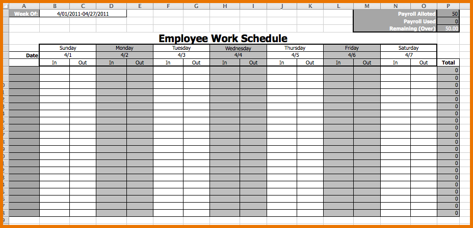 Calendar Employee Schedule Template Monthly Work Free Ubnvvf
