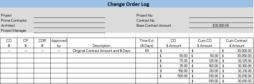 change log template excel