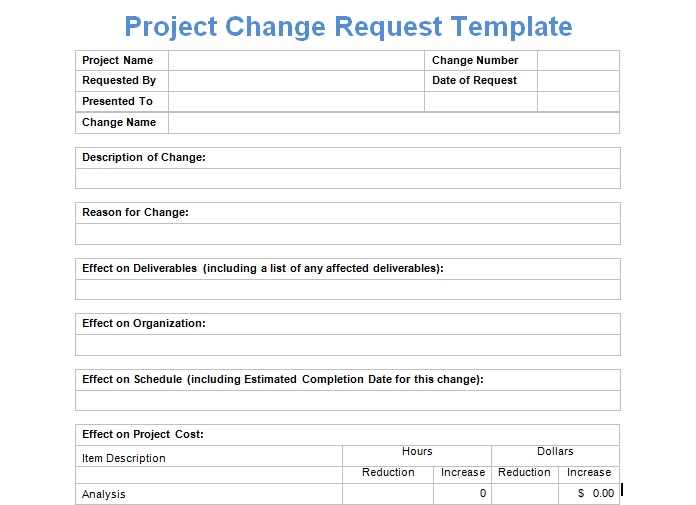 Project Change Request Template   Exceltemple   Excel Project