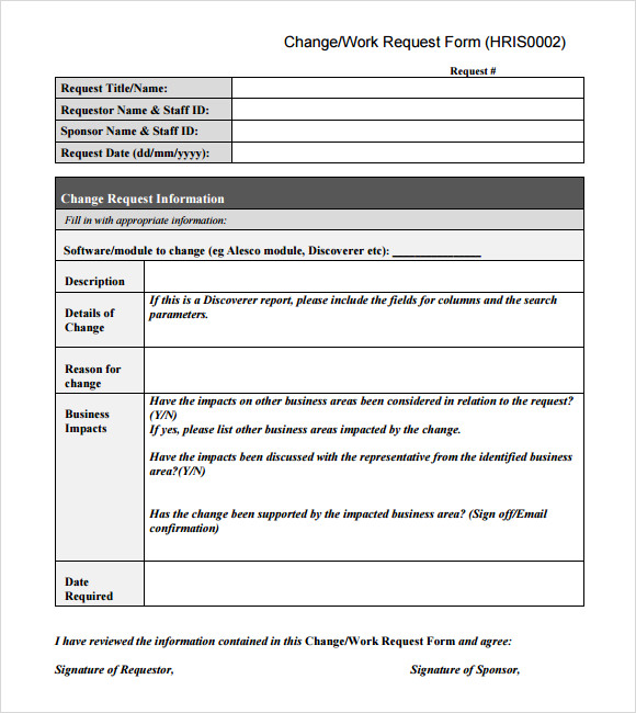 Shareware Change Request Template At Collection Com