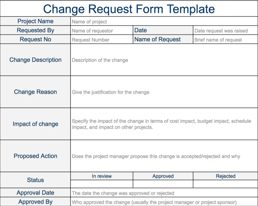 Change Request Form Templates – MS Excel/Word – Software Testing