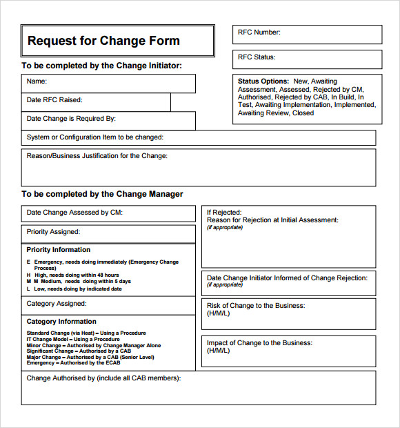 Sample Change Request 7+ Documents in PDF , Word