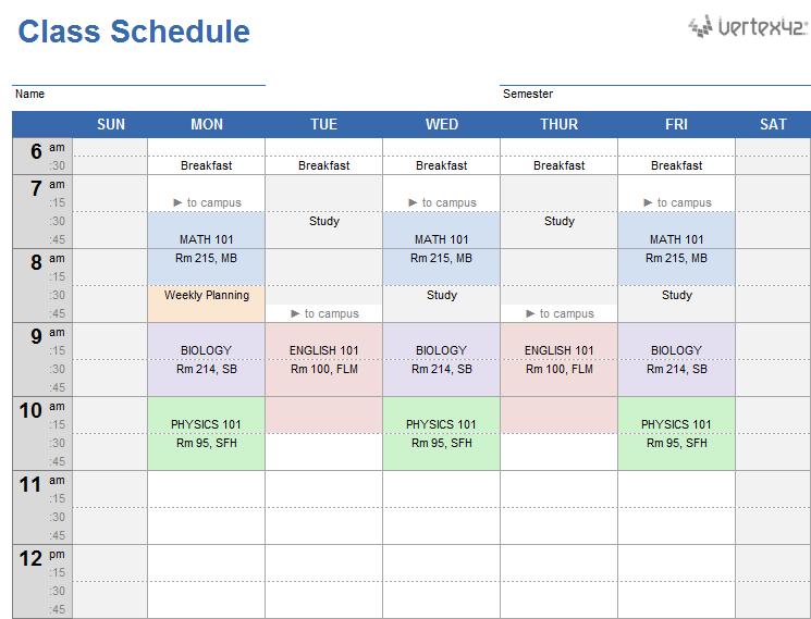 Class Schedule Template Excel