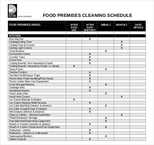 cleaning schedule template for cafe