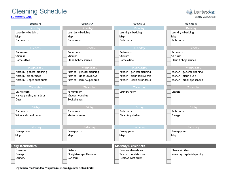 35 Cleaning Schedule Template For Care Homes, [Cleaning