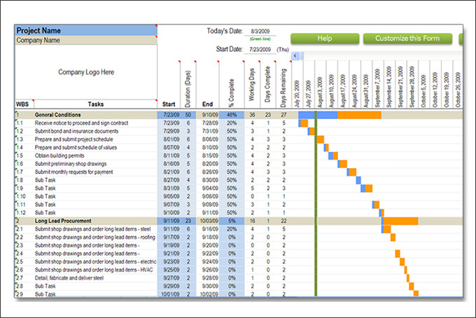 Construction Schedule Templates 13+ Free Word, Excel, PDF Format