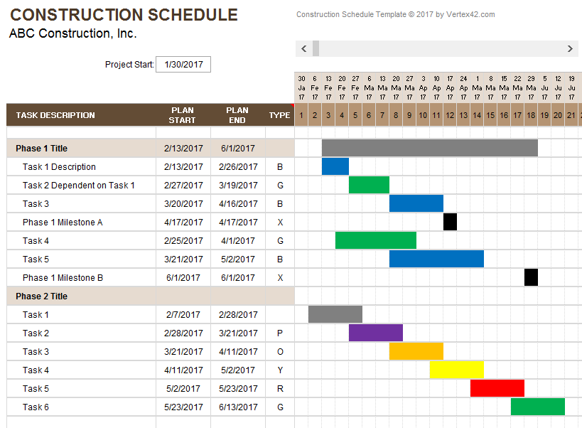 Construction Schedule Template Free