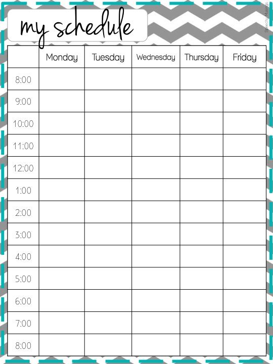 Cute Class Schedule Template