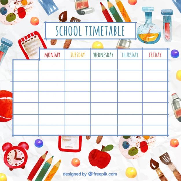 水彩要素と面白い学校の時間割 無料ベクター   English   Pinterest
