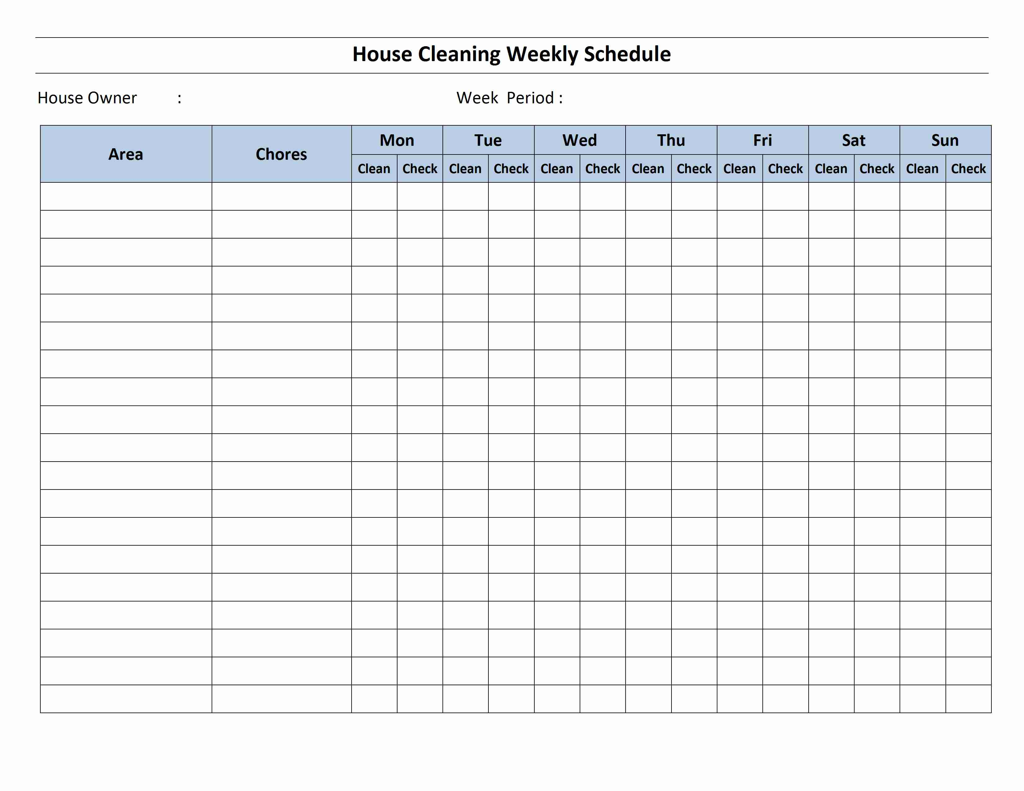 Cleaning Schedule Template | aplg planetariums.org