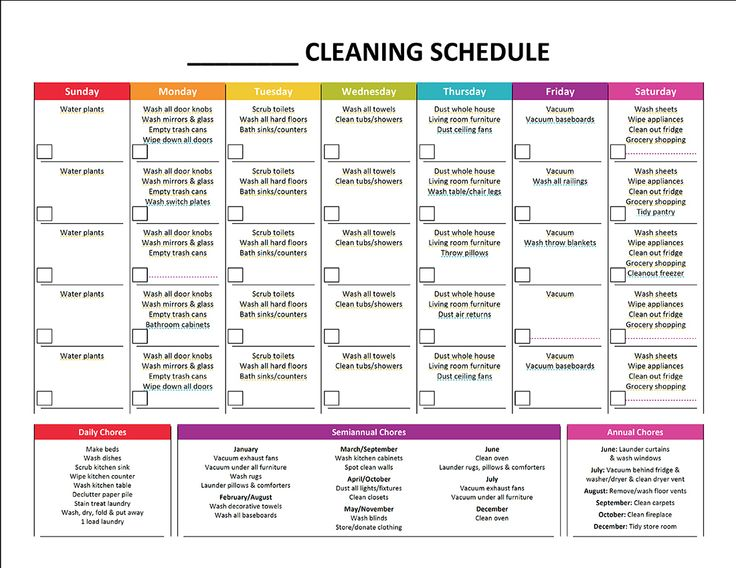 Daily Cleaning Schedule Template