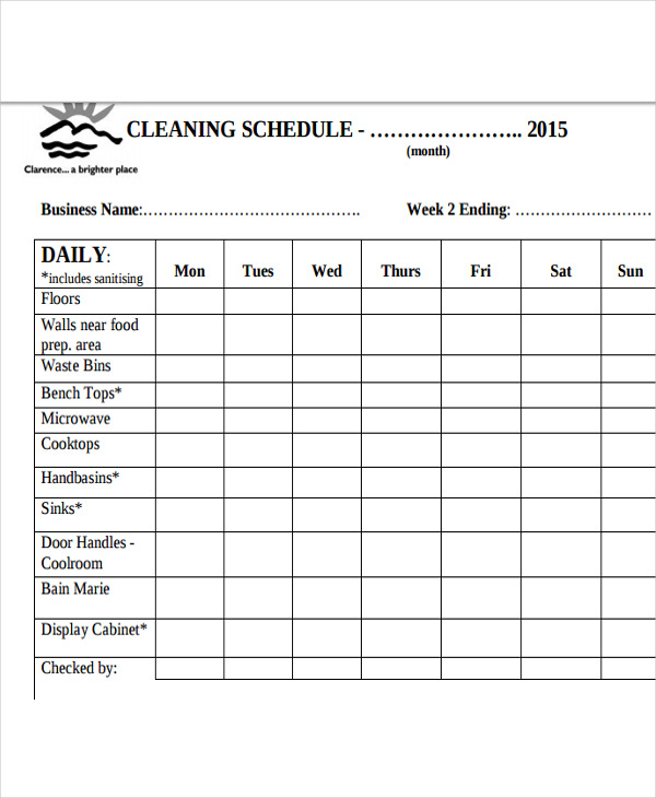 13+ Restaurant Cleaning Schedule Templates 6+ Free Word, PDF