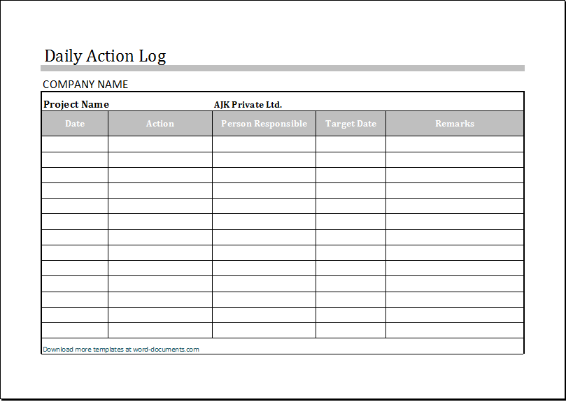 Daily Log Template. Canadian Small Business Owners Here Daily