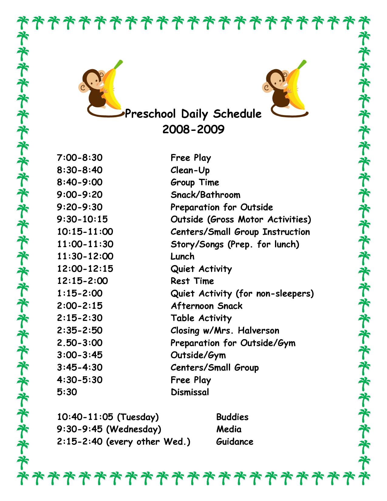 30 Images Of Printable Daily Schedule Template For Day Care