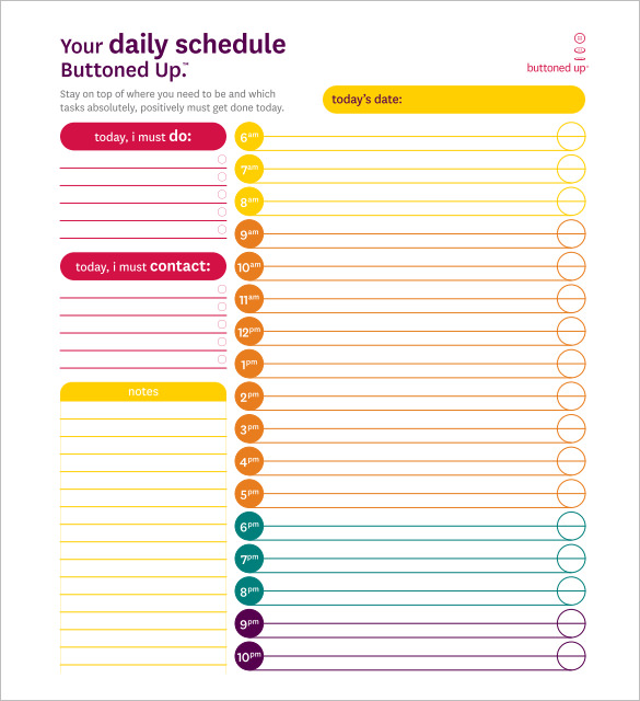 Daily Schedule Template For Word
