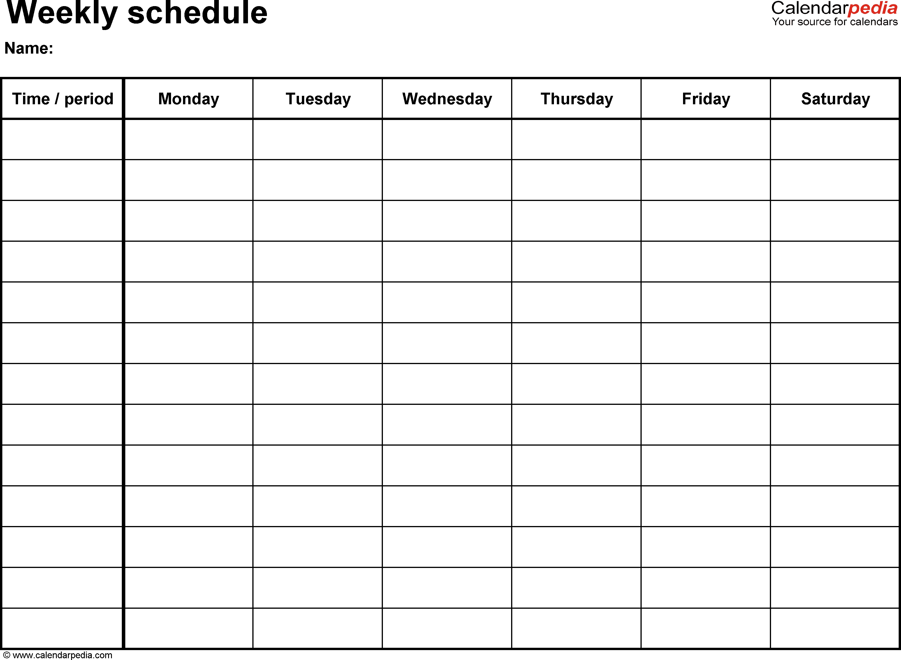 Daily Schedule Template Pdf