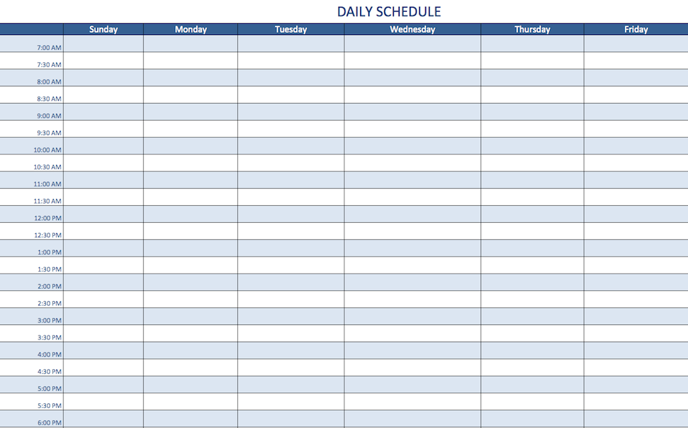 Day Schedule Template Excel