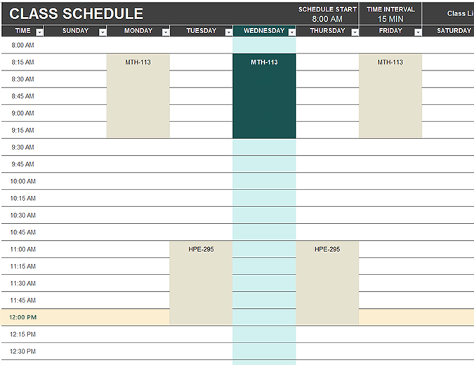 Daily Schedule Template | Printable Daily Planner Template | Excel