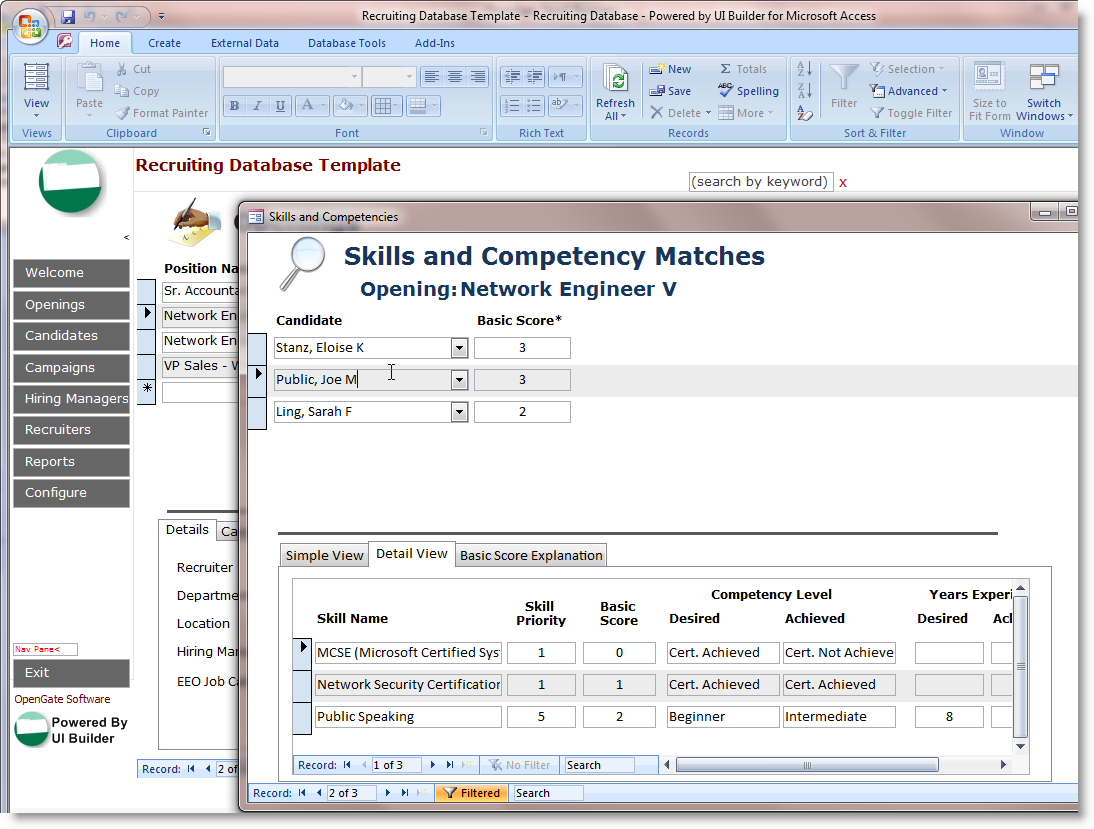 Microsoft Access Employee Recruiting Template   OpenGate Software Inc
