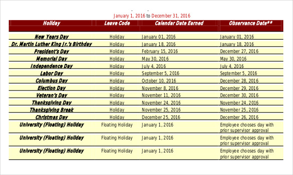 Holiday Schedule Template 19+ Free Sample, Example Documents