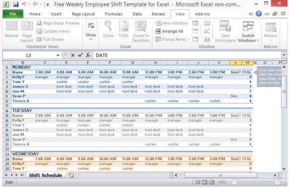 template for employee reference printable schedule template