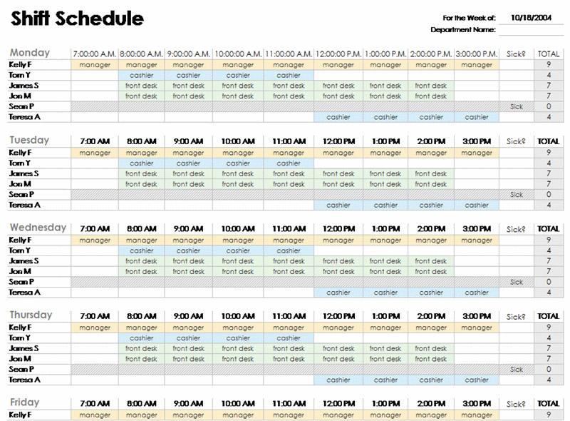 12 Steps to a Microsoft Excel Employee Shift Schedule | Zip Schedules