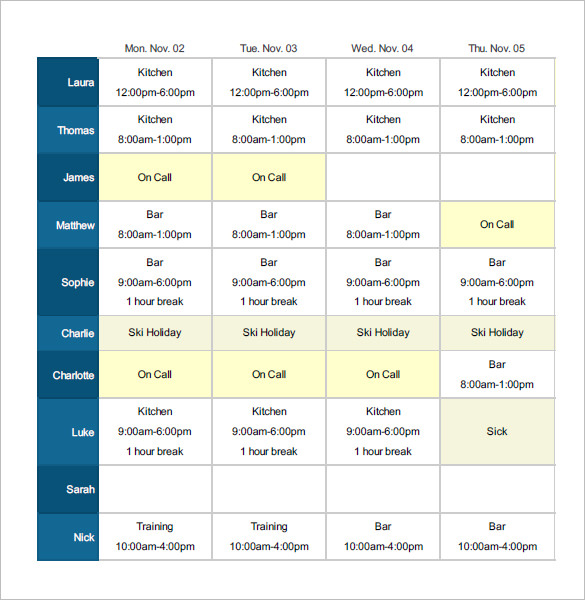 Employee Shift Schedule Template 12+ Free Word, Excel, PDF
