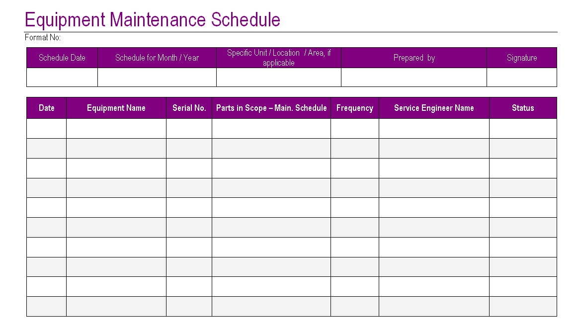 Impressive Equipment Maintenance Schedule Template And Form Table
