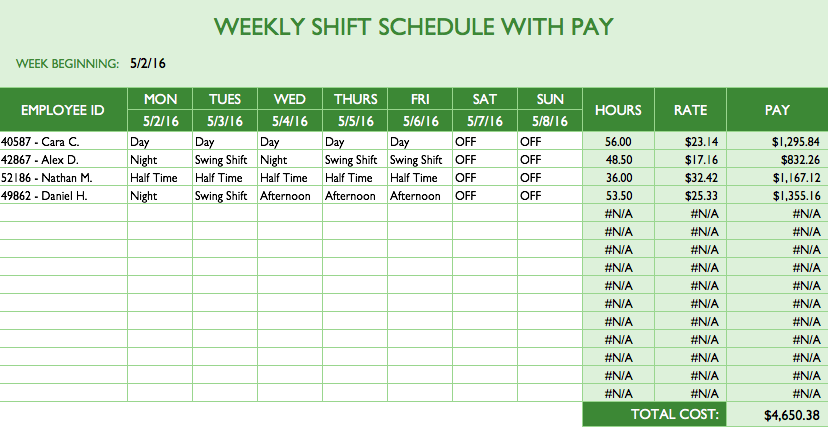 Employee Schedule Template Excel | Top Form Templates | Free