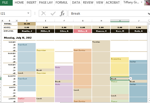 Excel Schedule Template Hourly