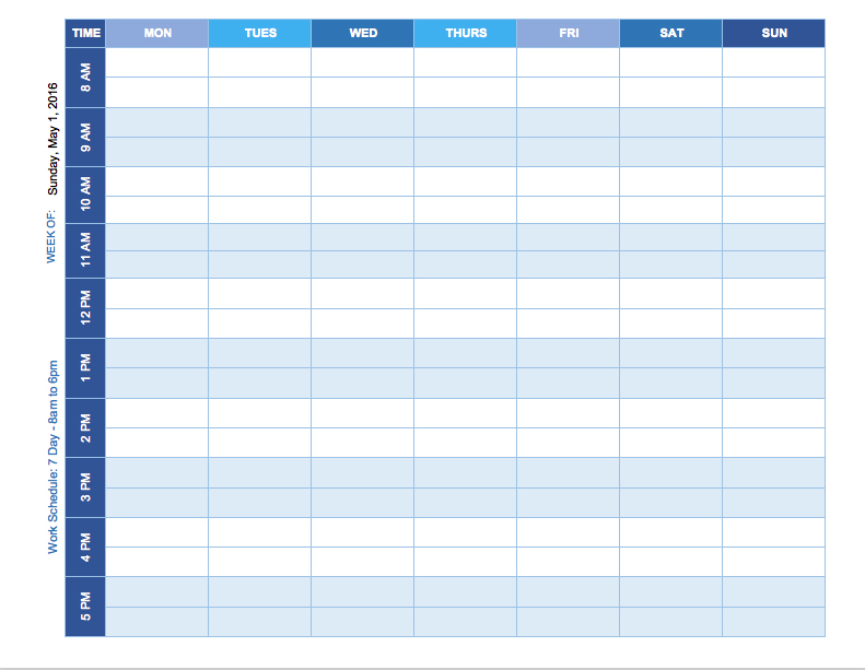 Excel Template For Weekly Schedule