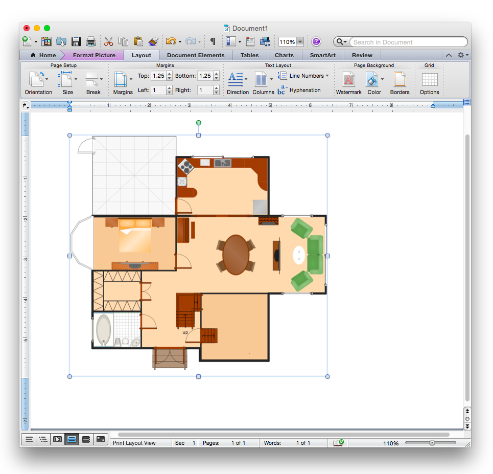 How to Add a Floor Plan to a MS Word Document Using ConceptDraw