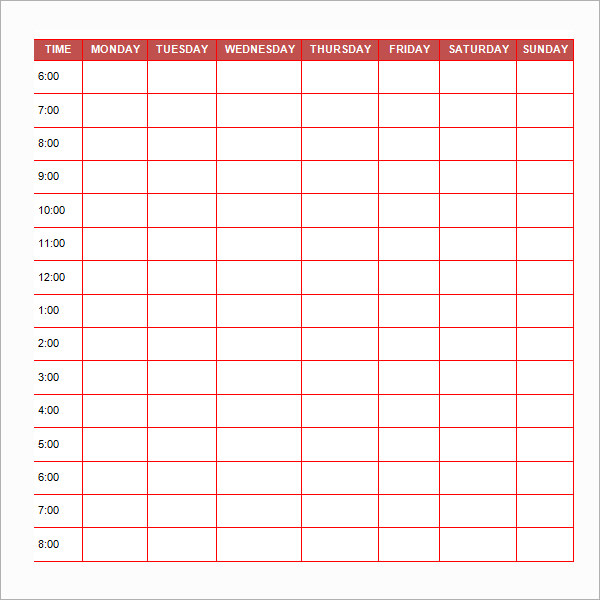 Free Printable Schedule Template Daily