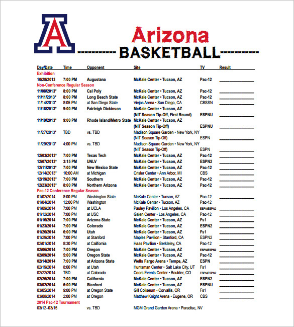 14+ Basketball Schedule Template Free Word, Excel, PDF Format