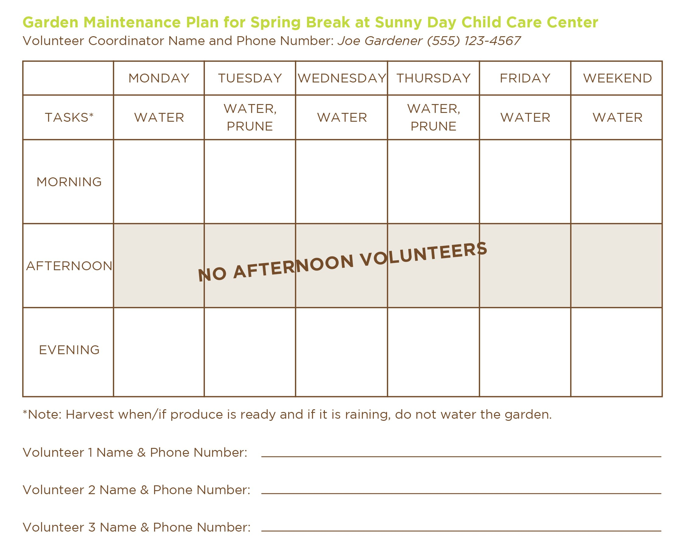 Garden Maintenance Schedule Template